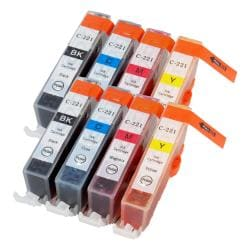Sophia Global CLI-221 Black/ Cyan/ Magenta/ Yellow Ink Cartridges (Pack of 8) (Remanufactured)