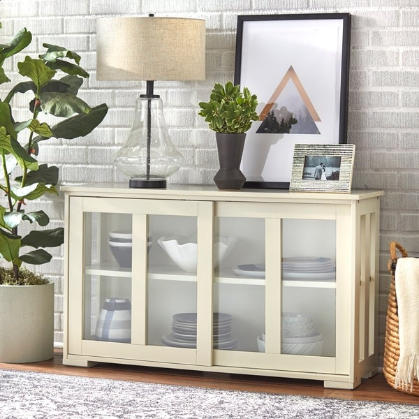 Simple Living Glass Door Stackable Cabinet - 25 x 42 x 14. Opens flyout.