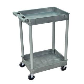 Luxor Grey 2 Tub Shelf Utility Cart