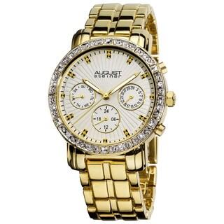 August Steiner Women's Gold-Tone Swiss-Quartz Multifunction Crystal Watch