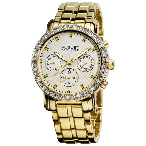 August Steiner Women's Gold-Tone Swiss-Quartz Multifunction Crystal Watch with FREE GIFT