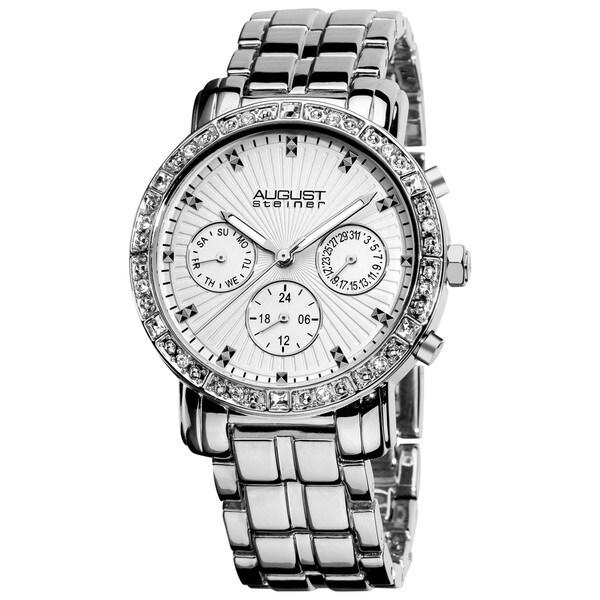 August Steiner Women's Swiss Quartz Multifunction Crystal Silver-Tone Watch with FREE GIFT