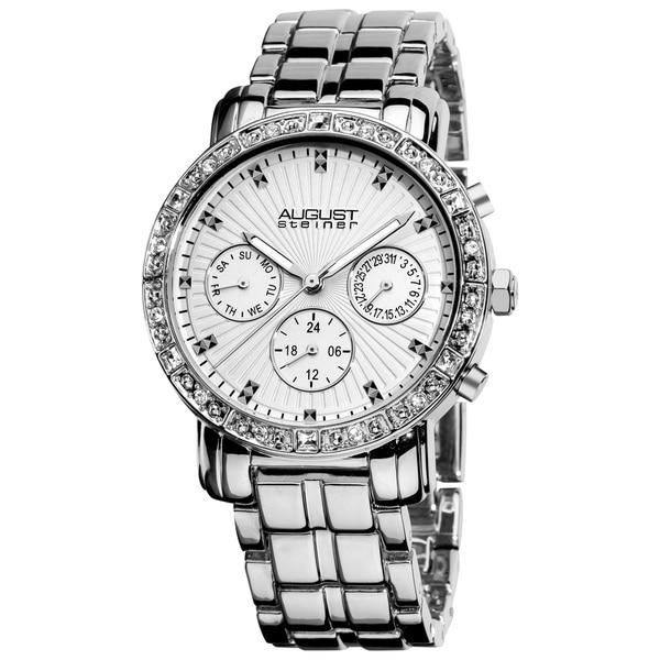 August Steiner Women's Swiss Quartz Multifunction Crystal Silver-Tone Watch
