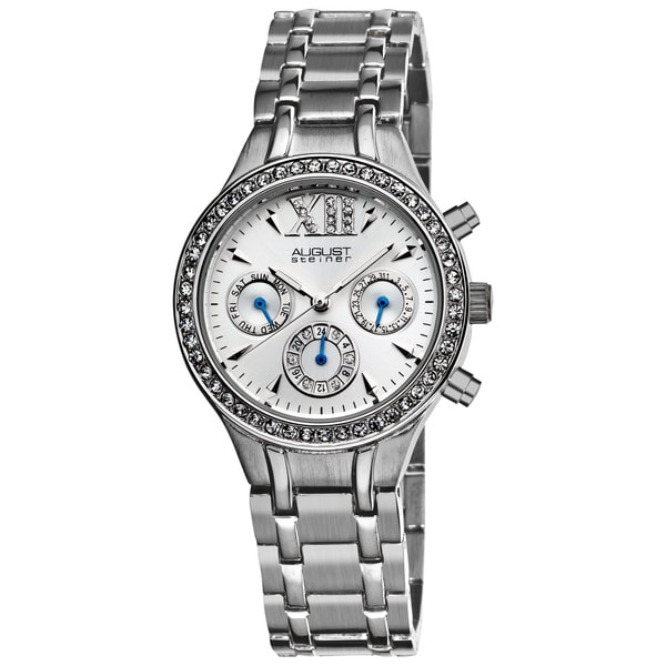 August Steiner Women's Crystal Multifunction Silvertone Bracelet Watch