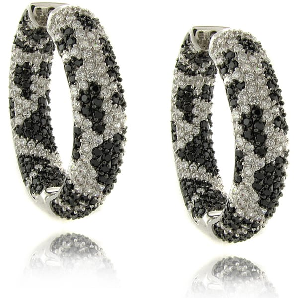 Dolce Giavonna Brass Black and White Cubic Zirconia Python Print Hoop Earrings