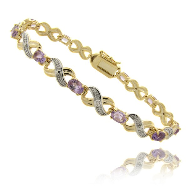 Dolce Giavonna 14k Gold Overlay 4 1/2ct Amethyst and Diamond 'XO' Bracelet