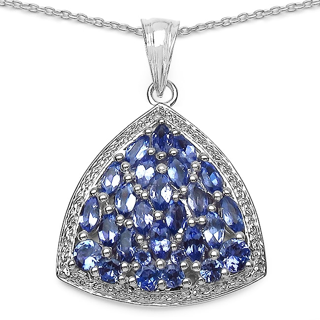 Malaika Sterling Silver Tanzanite Cluster Trillion-shaped Necklace