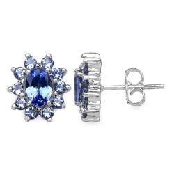 Malaika Sterling Silver Tanzanite Floral Earrings - Thumbnail 1
