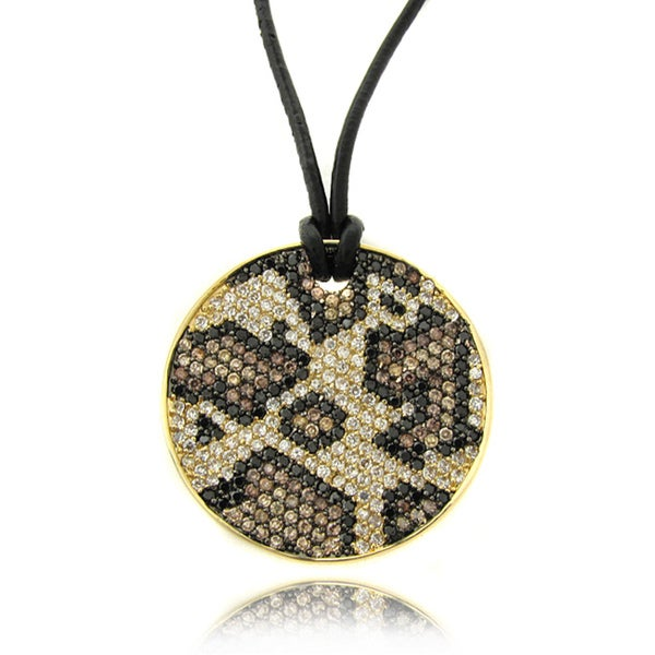 Dolce Giavonna 14k Gold Overlay Cubic Zirconia Leopard Print Medallion Pendant Necklace