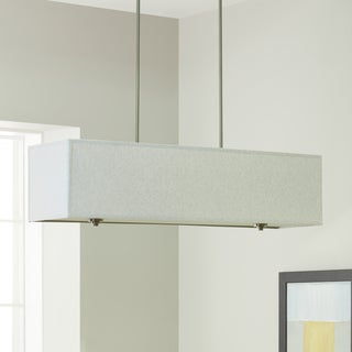 Strick & Bolton New Ventura Grey Metal/ Nickel Rectangular Chandelier
