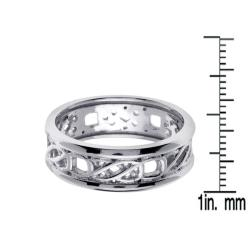 14k White Gold Men's Fancy Wedding Band - Thumbnail 2