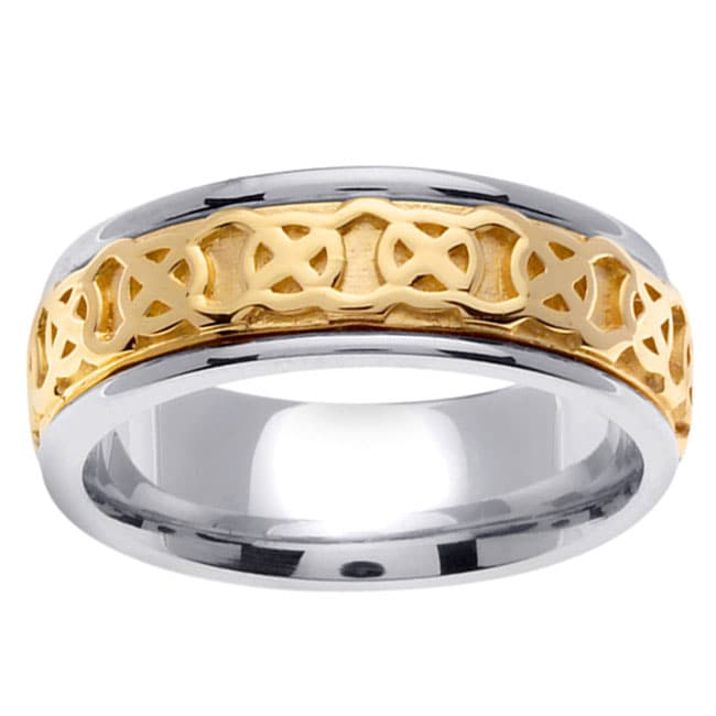 14k Two tone Gold Mens Celtic Knot Wedding Band Free Shipping Today