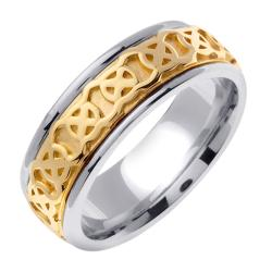 14k Two-tone Gold Men's Celtic Knot Wedding Band