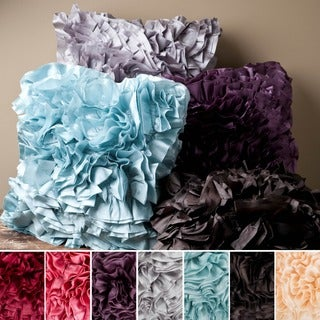 Luxor Ruffled 18-inch Square Poly Fill Pillow