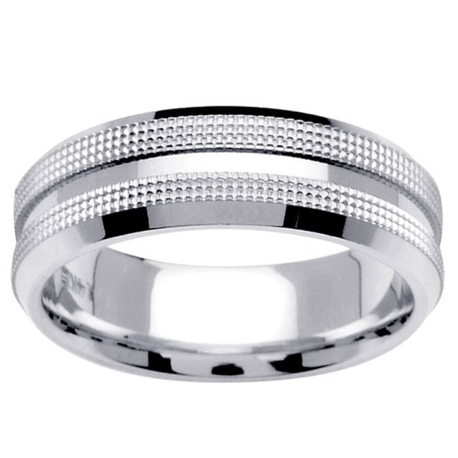 14k White Gold Men's Fancy Wedding Band