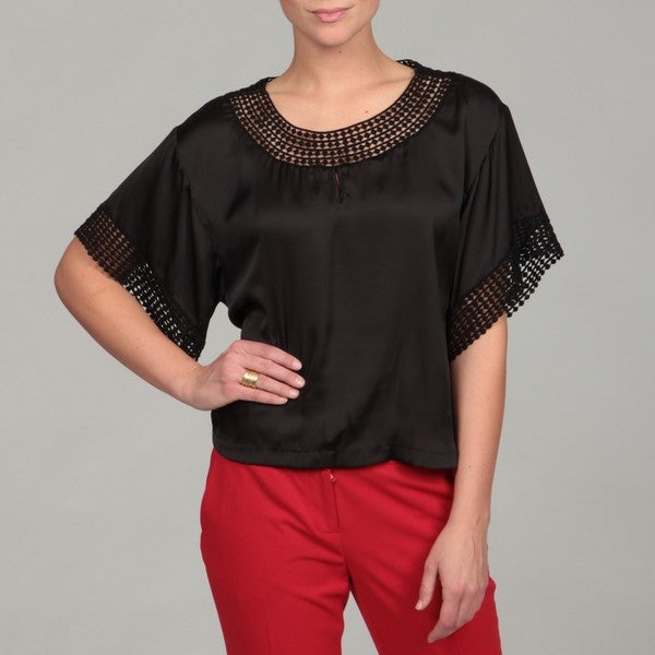 Cupio Women's Black 3/4-length Sleeve Cropped Blouse
