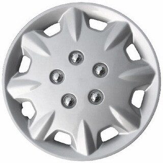 Design ABS Silver 15-Inch Snap-On Hub Caps (Pack of 4)