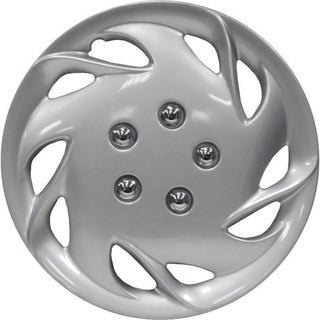 Design Silver ABS Plastic Silver 15-Inch Hub Caps (Set of Four)