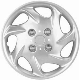 Design Silver ABS Silver 15-Inch Steel Wheel Hub Caps (Set of Four)