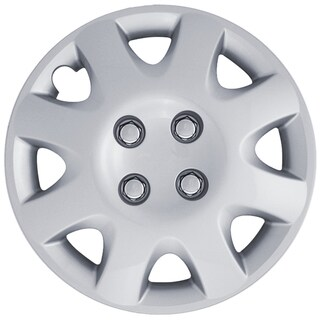 Eight Spoke Design Silver ABS 14-Inch Hub Caps (Set of 4)