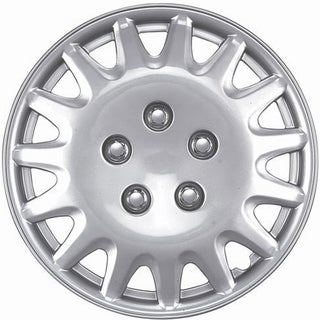 Fifteen Spoke Design Silver ABS 14-Inch Hub Caps (Set of 4)
