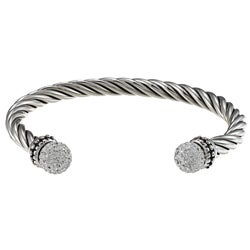 Sunstone Sterling Silver Pave Crystal Cable Cuff Bracelet
