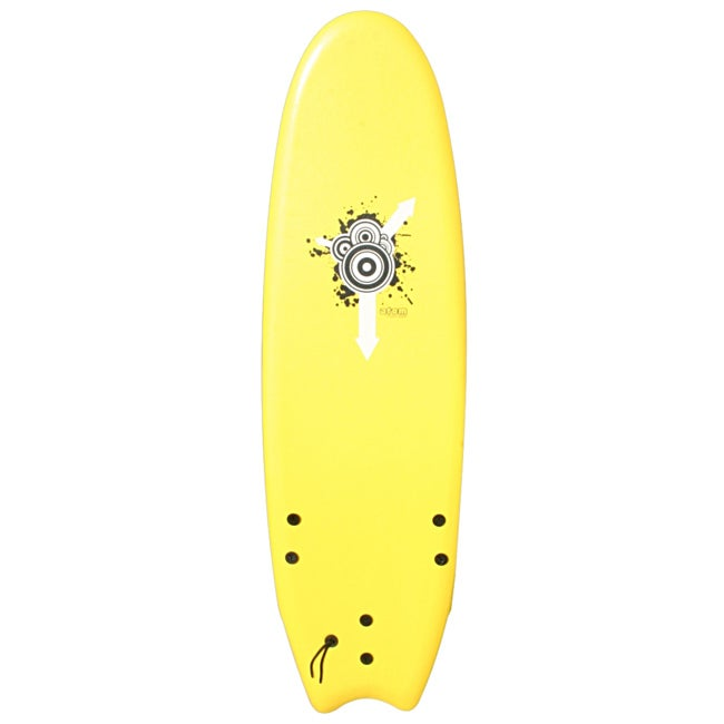 Atom Yellow Six-foot Soft Top Surfboard with XPO Foam Deck Surface