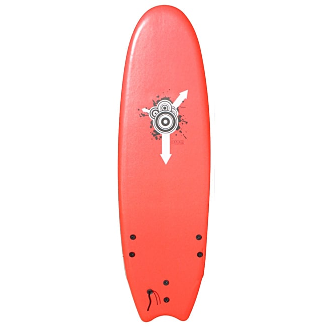 Six-foot Atom Red Rubber-finned Soft-top Surfboard for Beginners