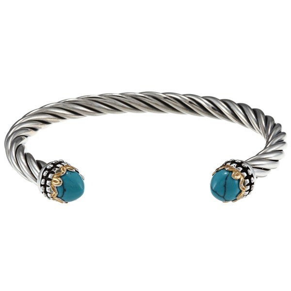 Sunstone Sterling Silver Blue Turquoise Cable Cuff Bracelet