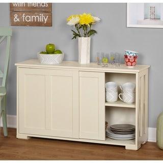 Simple Living Antique White Sliding Door Stackable Cabinet & Kitchen Cabinets For Less | Overstock.com kurilladesign.com