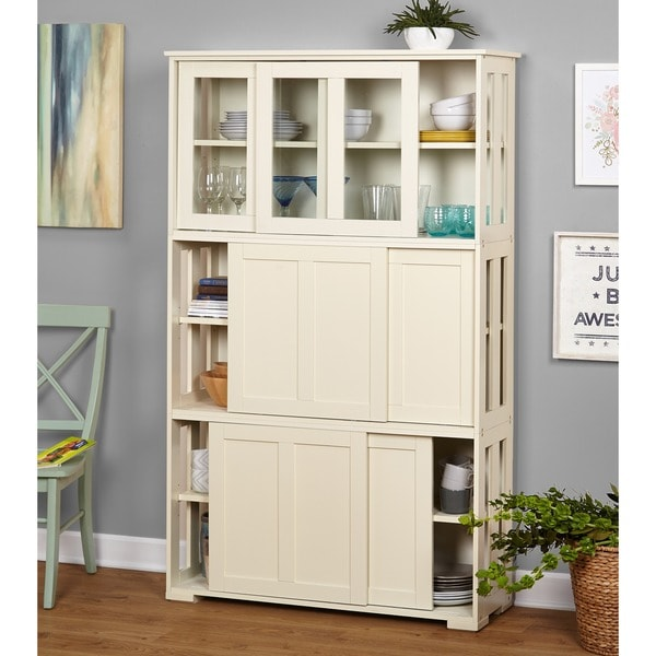 Simple Living Antique White Sliding Door Stackable Cabinet - Free ...