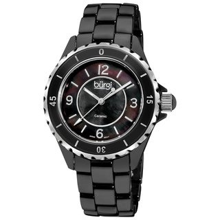 Burgi Women's White Ceramic Quartz Bracelet Watch