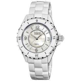Burgi Women's White Ceramic Quartz Bracelet Watch