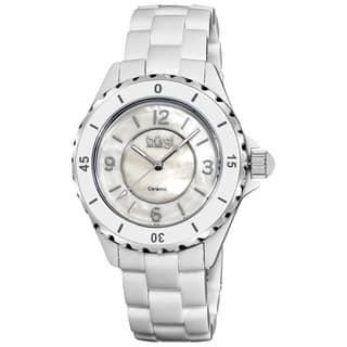 Burgi Women's White Ceramic Quartz Bracelet Watch|https://ak1.ostkcdn.com/images/products/6421475/P14027457.jpg?impolicy=medium