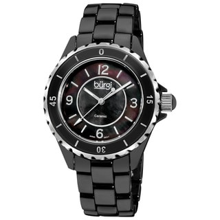 Burgi Women's Black Ceramic Quartz Bracelet Watch with FREE GIFT
