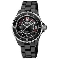 Burgi Women's Black Ceramic Quartz Bracelet Watch