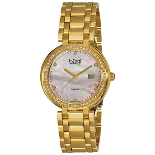Burgi Women's Gold-Tone Swiss Quartz Diamond Bracelet Watch