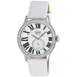 Burgi Women's Swiss Quartz Diamond White Strap Watch
