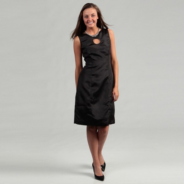 Lotus Grace Women's Black Keyhole Sheath Dress