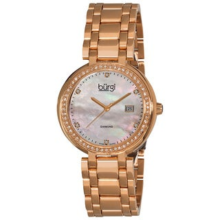 Burgi Women's Swiss Quartz Diamond Rose-Tone Bracelet Watch