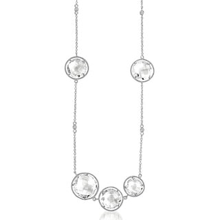 Collette Z Sterling Silver Clear Crystal Quartz Round Station By-the-yard Necklace