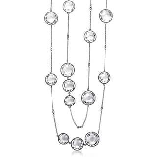Collette Z Sterling Silver Clear Crystal Quartz Round Station 32-inch Necklace|https://ak1.ostkcdn.com/images/products/6421496/P14027470.jpg?impolicy=medium