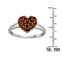 Sterling Silver 1/2ct TDW Red Diamond Heart Cocktail Ring - Thumbnail 2