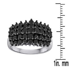 Sterling Silver 2ct TDW Black Diamond Cocktail Ring - Thumbnail 2