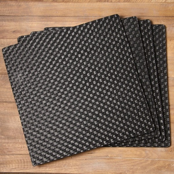 Allegro Black Hard-backed Square Placemats (Set of 4)