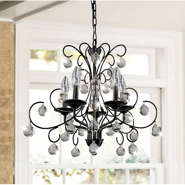 Messina 5-light Wrought Iron and Crystal Chandelier - Thumbnail 0