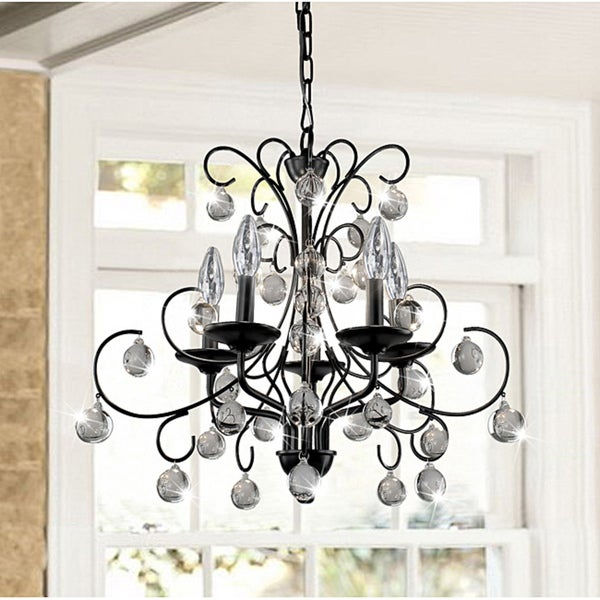 Messina 5 Light Wrought Iron And Crystal Chandelier Free