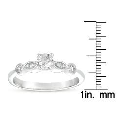 14k White Gold 3/8ct TDW Diamond Promise Ring (G-I, I1-I2) - Thumbnail 2