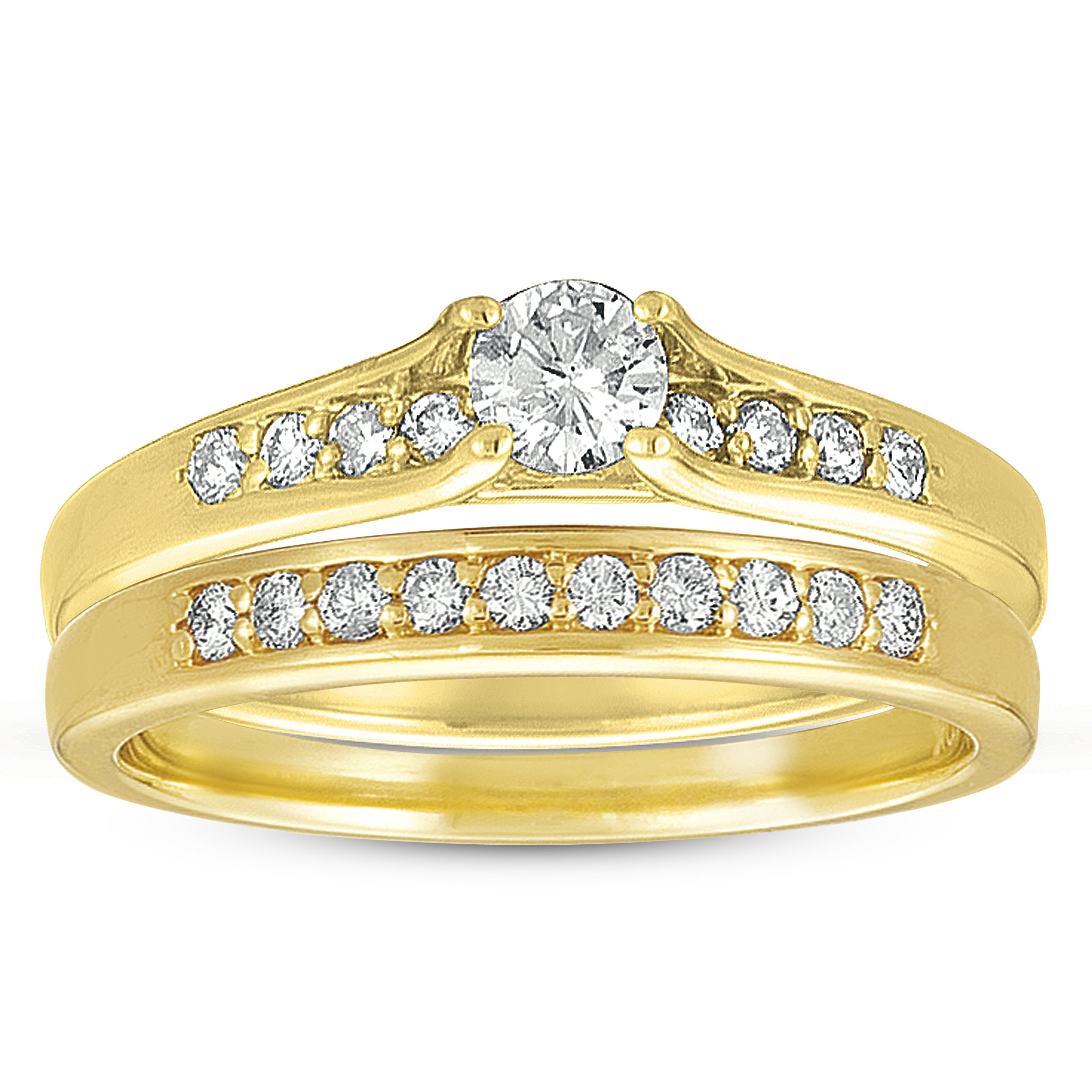 10k Yellow Gold 1/2ct TDW Diamond Bridal Ring Set (G-I, I1-I2)