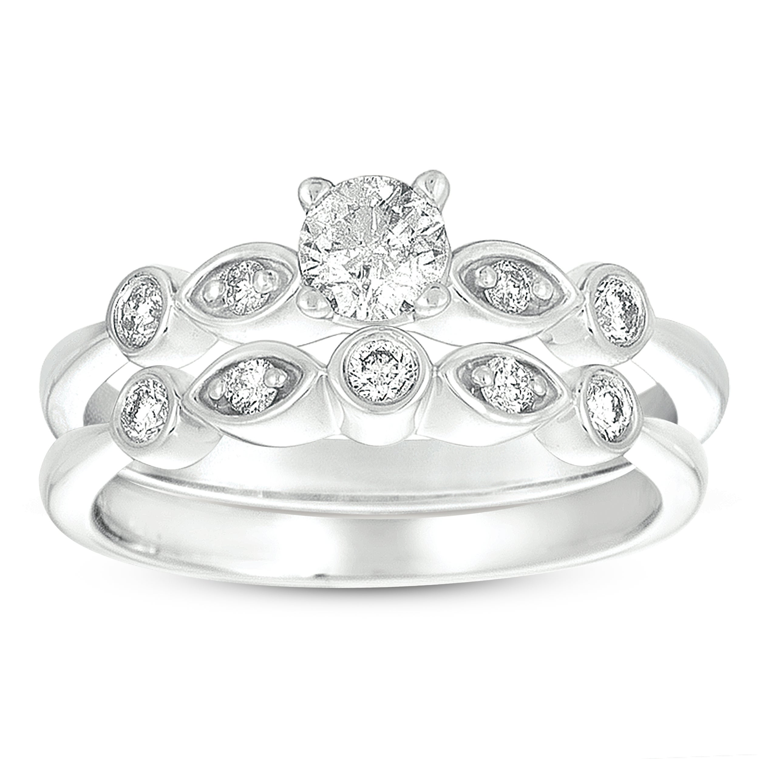 Eloquence 14k White Gold 3/8ct TDW Diamond Bridal Set